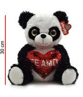 Panda de Peluche con Corazón de Lentejuelas 29cm